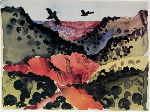 georgia-o-keefee-paintings-canyon-with-crows-1917